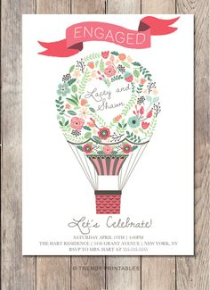 Air Balloon, Balloons, Engagement Party Invitations, Invitation Cards, Handmade Gifts, Printables, Wedding, Etsy, Hot