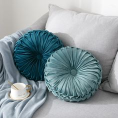 Round Filled Cushion,Velvet Cushions,Pleated Round Pillow, Scatter Cushion Home Decorative for Home Sofa Chair Bed Car Decor - Walmart.com