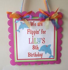 BRIGHT Dolphin Collection Door Sign Party by SerendipityPartyShop, $12.00