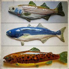 Ceramic Fish these inspire me to create wooden carved fish.