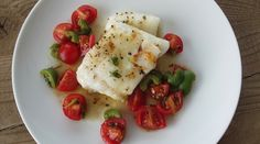 Olive Oil (Slow) Poached Cod with Tomato, Olive Salsa : Recipes : do it Delicious seafood main meal dinner