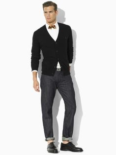 Ralph Lauren Polo Cardigan for spring. Love the outfit but hate the latest fad of the ankle show. Sharp Dressed Man, Well Dressed Men, Polo Cardigan, Black Cardigan, Cardigan Outfits, Preppy Look, Preppy Style, Looks Style, My Style