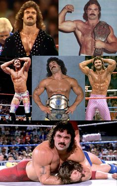 """""""Ravishing"""" Rick Rude was an American professional wrestler & self-proclaimed """"Sexiest Man Alive"""". Rude's physique has been named by WWE as the greatest in the history of professional wrestling. He died at the age of 40 in 1999 after suffering heart failure."""