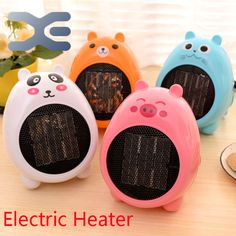 Cartoon Mini Warm Air Electric Heater 4-Colors Adjustable Thermostat Fan Heater Freestanding Portable
