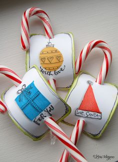 Hand-decorated tags from 3 basic stamp shapes - a sweet little treat that you can use as a gift topper, or to hang on your Christmas tree.  Fun project to do with kids  :-)  By Lori Vliegen  #DIY #craft