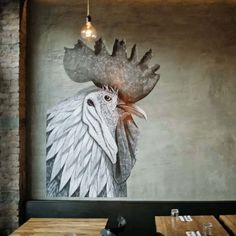 Mur de bêtes. ~How I would love to do giant chicken n my wall~