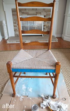 How I Changed the Color on Rush Seat Chairs Driftwood stain