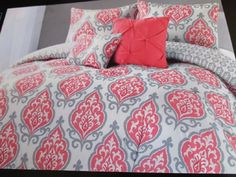 cynthia rowley coral gray and white medallion 4pc twin xl comforter set