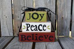 Christmas Decor block set JOY PEACE BELIEVE  personalized wood block set sign primitive gift