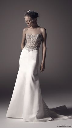 AMARE COUTURE Spring 2016 strapless semi sweetheart neckline sheer embellished bodice elegant modfied a line wedding dress illusion back court train (lilah) mv  #bridal #wedding #strapless #weddingdress #weddinggown  #engaged #romantic #fashion #gown