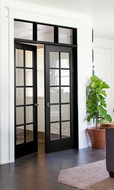 French Door To Outside Interior French. 27 Best Planning Window Treatments For French Doors . Sliding Glass Pocket Doors Exterior Hawk Haven. Home and Family Design Entrée, Door Design, House Design, Design Ideas, Interior Design, Interior Office, Interior Ideas, Black French Doors, Black Doors