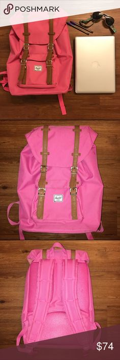 Hot Pink Herschel Backpack Hot Pink Herschel Backpack  Front, shoulder straps, and inside are in excellent condition! Bottom shows some signs of wear (most some dirt spots on the edges) from being sat down. - I did my best to photograph this...it's hard to see it in photos.   💲OFFERS WELCOME💲 ❌NO Trades❌ Herschel Supply Company Bags Backpacks