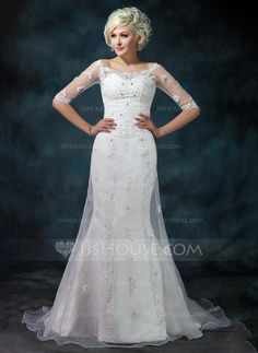 Trumpet/Mermaid Off-the-Shoulder Court Train Organza Satin Wedding Dress With Lace Beading (002012573)