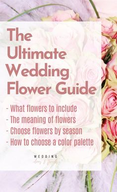 The Ultimate Wedding Flower Guide on how to choose flowers for your wedding including top trendy wedding flower tips on what flowers to include at the wedding, how to choose flowers based on their meaning, the best seasonal flowers, and ideas and inspirations for the best color palettes for the big day. Learn why it's important to consider budget and scope when choosing your wedding flowers, and discover other tips and advice on how to make your big day perfect. Wedding Flower Guide, Winter Wedding Flowers, Rustic Wedding Flowers, Wedding Flower Arrangements, Wedding Advice, Wedding Planning Tips, Wedding Centerpieces, Floral Wedding, Wedding Decorations