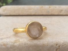 US 5.75 Raw Rose Quartz Ring Raw Stone Gold Ring by LavantaBay