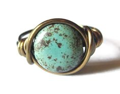 Boho Turquoise Ring Custom Size in Antique Brass