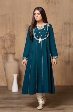 Mausummery Stitched Women Winter Dresses Designs Collection Mausummery Stitched Women Winter Dresses Designs Collection consists of embroidered stitched suits ready to wear shirts with trousers. Beautiful Dress Designs, Stylish Dress Designs, Designs For Dresses, Stylish Dresses, Casual Dresses, Ladies Dresses, Latest Dress Design, Fancy Dress Design, Simple Pakistani Dresses