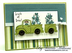 pick-up-love- I like the way the stamping is done on the diagonal  of the green paper and then the background is the same paper in a different color used straight across. And the window is rolled half way down. That's really cute!
