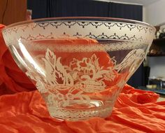 etched glass/ large bowl/ottoman ornaments