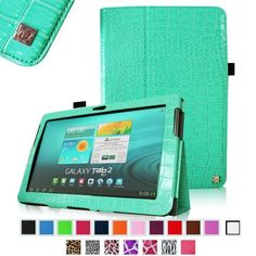Fintie Slim Fit Folio Case Cover for Samsung Galaxy Tab 2 10.1 inch Tablet - Crocodile Turquoise by Fintie, http://www.amazon.com/dp/B00E7OXPWA/ref=cm_sw_r_pi_dp_nl.psb1GEMW3F