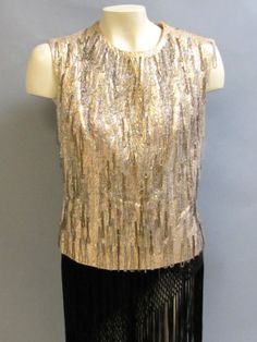 a1719977053a7 Dazzling Drips of BEADED Fringe Vintage 1960 s PINK   Metallic LAME Shell