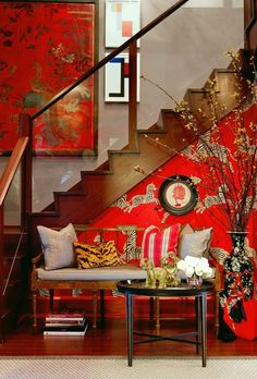Vivacious zebra wallpaper in Masai Red for the small eclectic entry complements the stairway wall art [From: Bryant Keller Interiors / Rikki Snyder] Zebra Wallpaper, Eclectic Wallpaper, Unusual Wallpaper, Interior Wallpaper, Print Wallpaper, Perfect Wallpaper, Red Interiors, Colorful Interiors, Keller Interiors