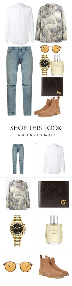 """""""Untitled #3915"""" by fashionhypedaily ❤ liked on Polyvore featuring Yves Saint Laurent, FAY, Yeezy by Kanye West, Gucci, Rolex, Burberry, Ray-Ban, Bottega Veneta, men's fashion and menswear"""