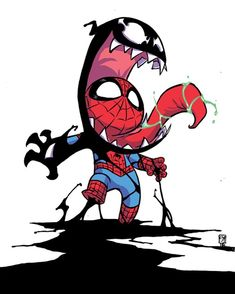 Venomized by Skottie Young : comicbooks Skottie Young, Spiderman Kunst, Venom Spiderman, Marvel Venom, Ps Wallpaper, Marvel Wallpaper, Chibi Marvel, Marvel Art, Marvel Avengers