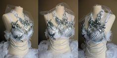 mermaid shells costumes edc ariel disney gogo rave costume halloween tutu starfish Rave Halloween Costumes, Cherry Topping, Mermaid Shell, Ariel Disney, Starfish, Edc, Tutu, Shells, Silver