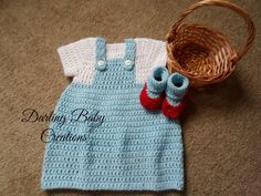 Crochet Dorothy Wizard of OZ Set Costume:  Includes Dress & Booties.   Sizes Newborn-12 Mths. Great For Halloween! by DarlingBabyCreations on Etsy