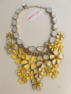 Betsey Johnson Brilliant Yellow Toned Crystals And Pearly White Flower Necklace…