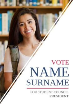 Shapes Picture White with triangular text section and student image background smiling for publicity of student council candidate