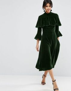 Green Velvet Dress | Ruffles | part Dress