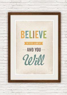 citation inspirante d'impression, affiches de typographie, typographique affiche impression, positif, décor de pépinière, Believe vous pouvez et vous ne serez A3