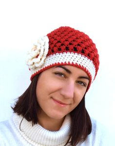 Beanie hat / Puff stich woman hat in red  orange by elenis4you, $27.50