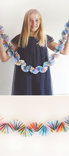 Diy Recyled Art Bunting Paper Fan Garland With Kid's Art Willowday Diy And Crafts, Arts And Crafts, Paper Crafts, Diy For Kids, Crafts For Kids, Diy Papier, Paper Fans, Paper Decorations, Parties Decorations