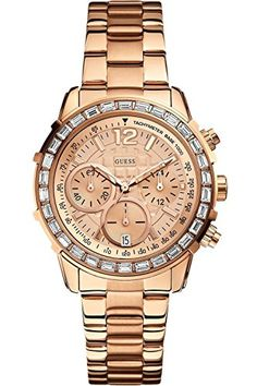 GUESS STEEL W0016L5,Women's Chronograph,Dazzling Hi-Energy,Rose Gold-Tone Sport,Genuine Crystal Accents,50 m WR *** Want to know more, click on the image.