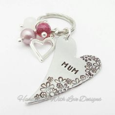 Mum Heart and flowers keyring mothers day handstamped by HWLD