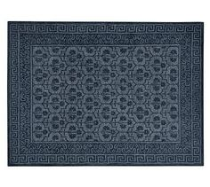 Braylin Rug - Blue #potterybarn - I love the structured pattern of this rug to compliment the vanity stool