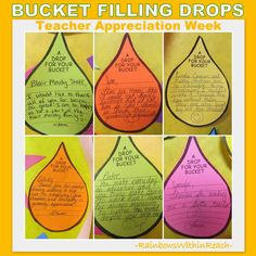 Bulletin Boards, Classroom Doors and Part 3 photo of: Fill your Bucket hand written notes of support for Teacher Appreciation Week Teacher Morale, Staff Morale, Student Teacher, Student Gifts, Classroom Door, School Classroom, Classroom Ideas, Classroom Behaviour, Classroom Rules