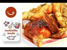 Cochinillo segoviano al horno. Receta tradicional Lechon, Spanish Food, Barbacoa, Pork Belly, Pork Recipes, Turkey, Meat, Chicken, Cooking