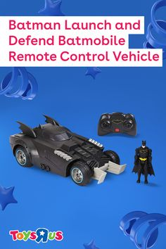 Use the Batman Launch and Defend Batmobile Remote Control Vehicle to keep the streets of Gotham City safe! Use the controller to move the Batmobile and, when Batman needs a serious lift, press the center red button to eject him from the Batmobile!