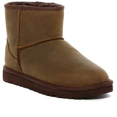 UGG Australia Classic Mini Leather UGGpure(TM) Lined Boot ($90) ❤ liked on Polyvore featuring shoes, boots, ankle booties, ankle boots, btol, bootie boots, short boots, platform boots, leather ankle booties and slip on boots
