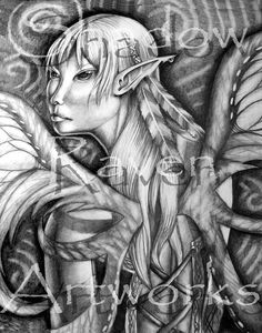 SALE Earth Fairy original drawing SALE 25 OFF by TwoBlueRavens, $90.00