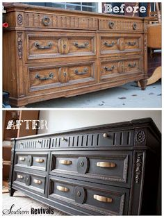 This ugly dresser, updated with black paint & brass handles - beautiful! Wonder how deep navy color would work? - Southern Revivals: July 2012