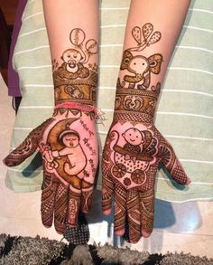 Creative Baby Shower Mehendhi Ideas We Came Across! Baby Mehndi Design, Modern Mehndi Designs, Mehndi Design Pictures, Dulhan Mehndi Designs, Wedding Mehndi Designs, Beautiful Henna Designs, Arabic Mehndi Designs, Mehndi Designs For Hands, Henna Tattoo Designs
