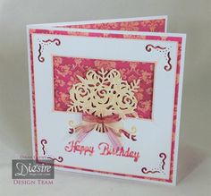 Diana Clews.  Die'sire Edge'ables – Beautiful Bouquet. Die'sire Essentials Only Words – Happy Birthday. Die'sire Create-a-Card Square Accordion dies. Centura Pearl Snow White Hint of Gold. Kimono 8x8 luxury Paper Pad. Spectrum Noir markers: FS3, FS6.  Organza ribbons, gems. #crafterscompanion