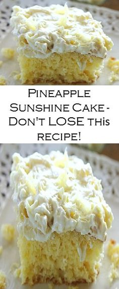 PINEAPPLE SUNSHINE CAKE – DON'T LOSE THIS RECIPE!!! #chicken #yummy #recipe Cake Recipes For Beginners, Cake Recipes From Scratch, Cake Mix Recipes, Chocolate Cake Recipe Easy, Chocolate Chip Recipes, Jello Recipes, Beef Recipes, Easy Recipes, My Best Recipe