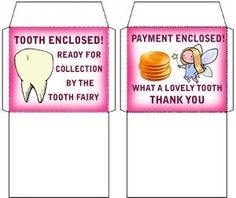 Tooth Fairy: Pink Tooth & Money Envelopes