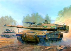 Israeli Merkava Mk 4 battle tanks